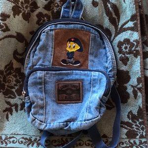 Tweety backpack bag EUC denim suede